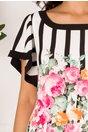 Rochie Dany cu dungi si imprimeu floral roz