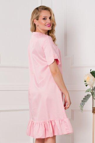 Rochie Dany roz cu broderie delicata la bust