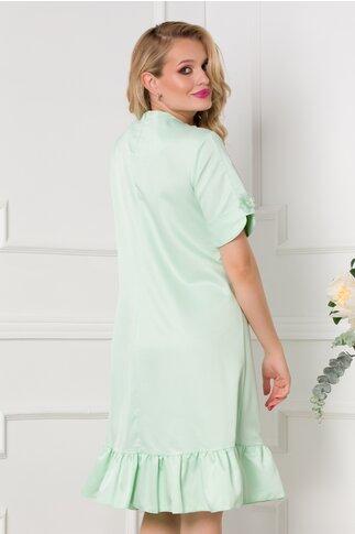 Rochie Dany verde mint cu broderie delicata la bust