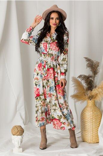 Rochie Dara alba din satin cu imprimeu si elastic in talie