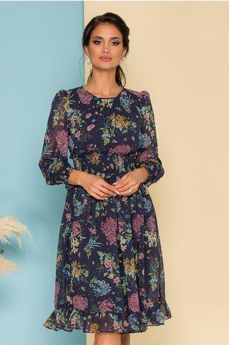 Rochie Dara bleumarin cu imprimeu floral