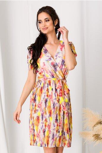 Rochie Dara din voal cu imprimeuri multicolore