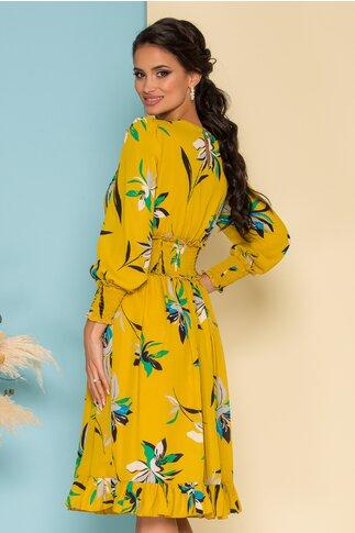 Rochie Dara galben mustar cu imprimeuri florale turcoaz