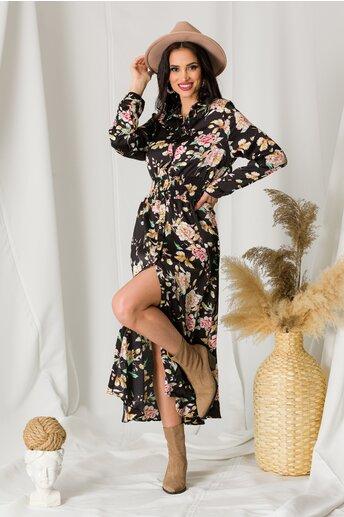 Rochie Dara neagra din satin cu imprimeu si elastic in talie