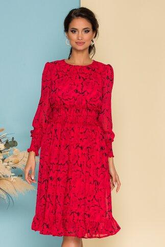 Rochie Dara rosie cu imprimeuri