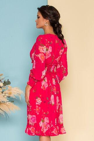 Rochie Dara rosu zmeura cu imprimeuri florale