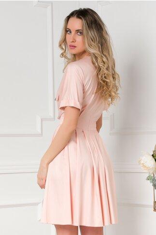 Rochie Dara roz clos accesorizata cu nasturi