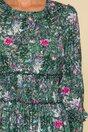 Rochie Dara verde cu imprimeu exotic