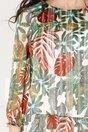Rochie Daria alba cu imprimeu exotic colorat