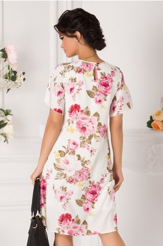 Rochie Daria alba cu imprimeu floral roz
