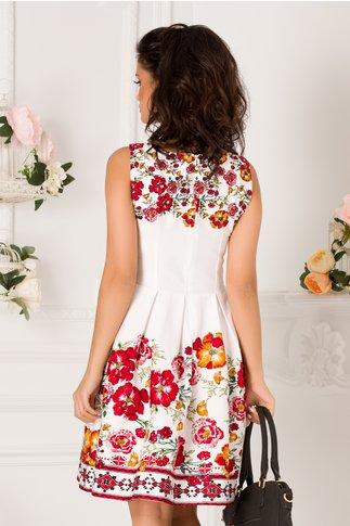 Rochie Daria alba cu imprimeuri florale rosii