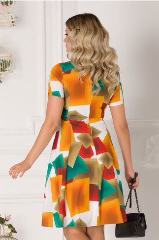 Rochie Daria alba cu imprimeuri geometrice colorate