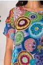 Rochie Daria albastra cu imprimeu mozaic