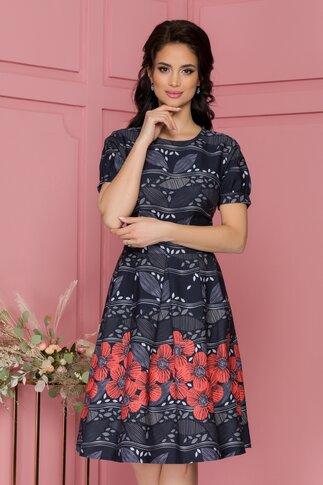 Rochie Daria bleumarin cu imprimeu floral in degrade si maci corai maxi