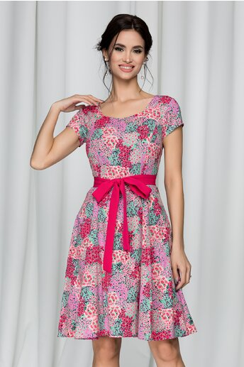 Rochie Daria cu imprimeu floral multicolor si cordon fucsia