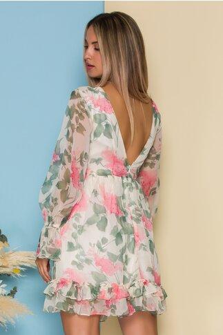 Rochie Daria ivory din voal cu imprimeu floral