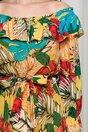 Rochie Daria lunga galben mustar cu imprimeu divers