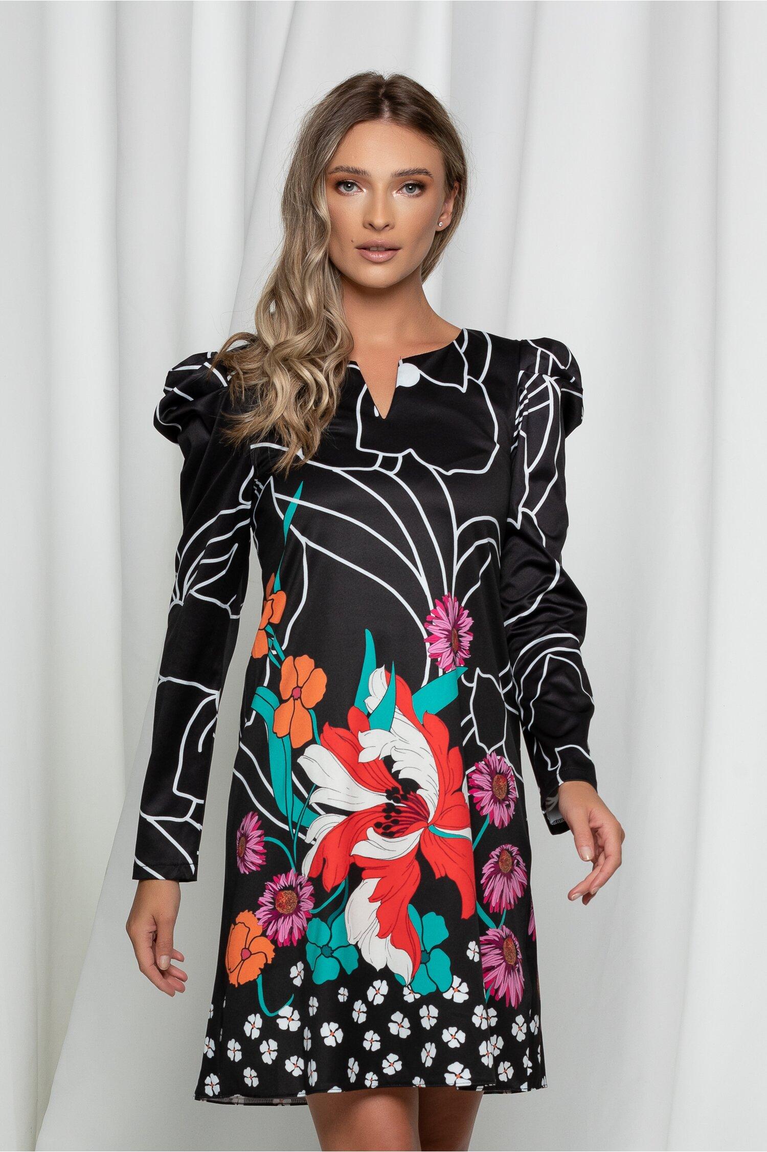 Rochie Daria neagra cu imprimeu floral