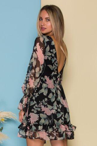 Rochie Daria neagra din voal cu imprimeu floral