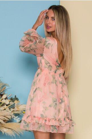 Rochie Daria roz somon din voal cu imprimeu floral