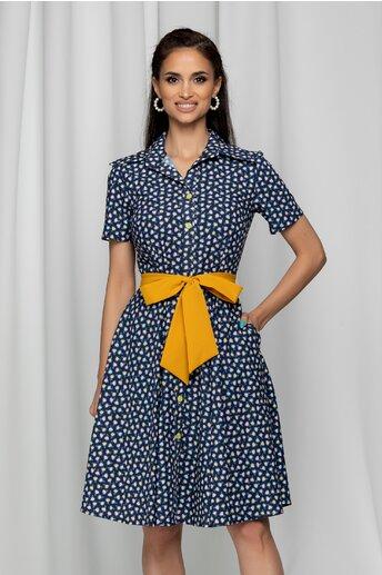 Rochie Daria tip camasa bleumarin cu imprimeu floral mini
