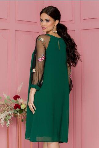 Rochie Daria verde cu broderie florala la maneci si decolteu