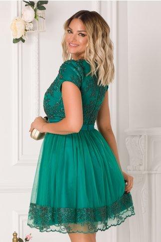 Rochie Daria verde cu broderie florala si paiete
