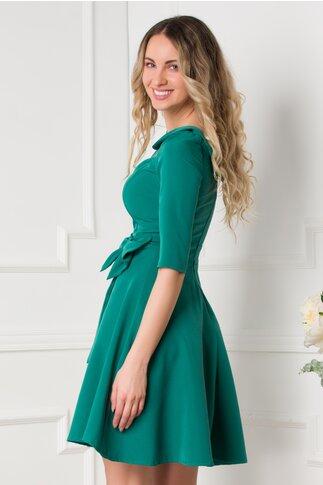 Rochie Daria verde cu funda maxi in talie