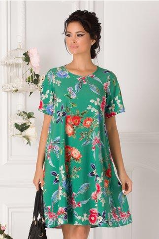 Rochie Daria verde cu imprimeu floral colorat