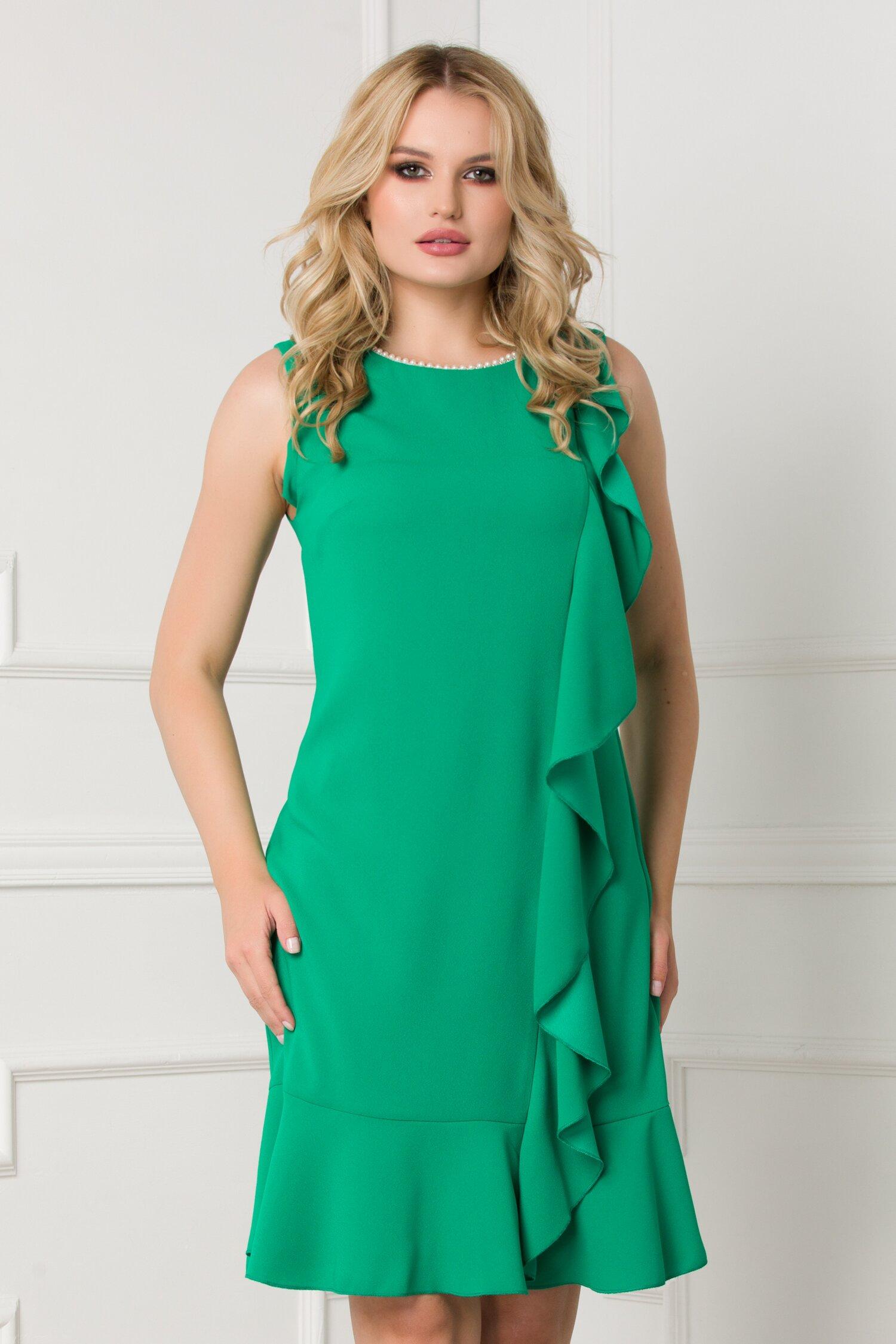Rochie Daria verde cu perle la decolteu si volan asimetric imagine