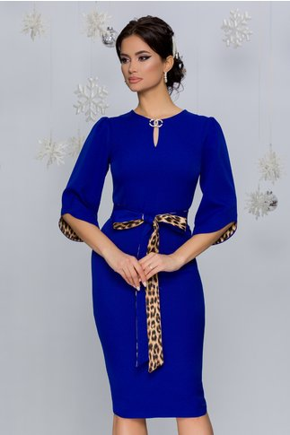 Rochie Dariana albastra cu cordon si detalii animal print