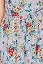 Rochie Dariana gri cu imprimeuri florale orange