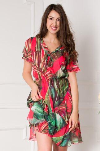 Rochie Dariana rosie cu imprimeu exotic verde