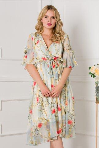 Rochie Darina bleu cu imprimeuri florale