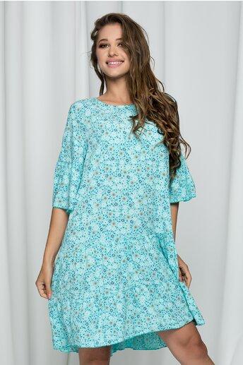Rochie Darlene bleu lejera cu imprimeu floral