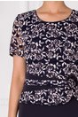 Rochie Dary bleumarin cu imprimeu floral bej la bust