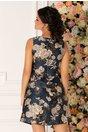 Rochie de vara bleumarin cu imprimeu floral bej