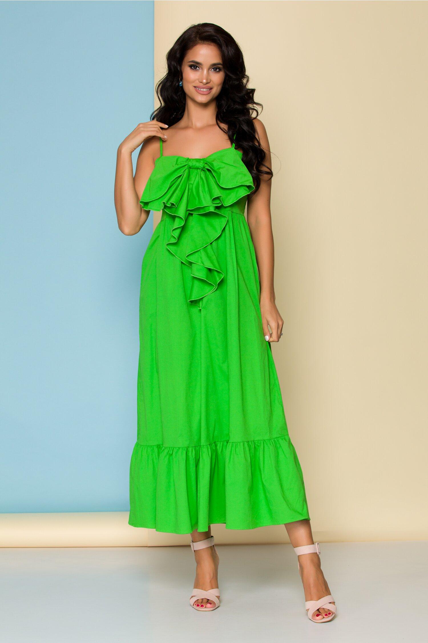 Rochie de vara verde cu fundita la bust si bretele subtiri reglabile