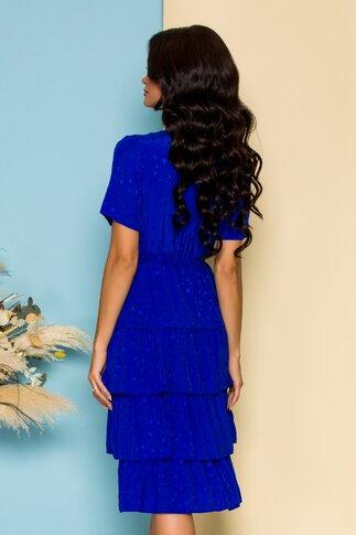 Rochie Deby albastra cu stelute si volane