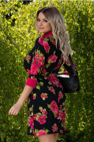Rochie Delia neagra cu imprimeuri florale roz