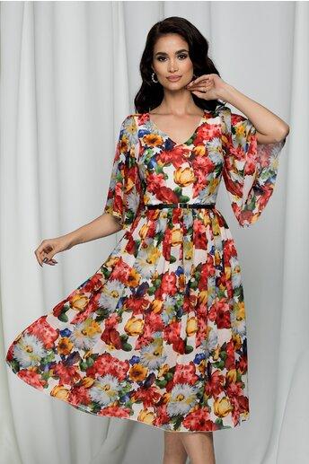 Rochie Delora alba cu maneci scurte tip volanase si imprimeu floral
