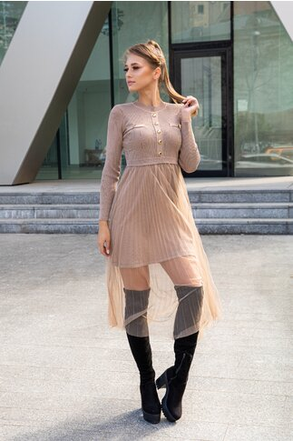 Rochie Dely beige din tricot cu fusta din tull