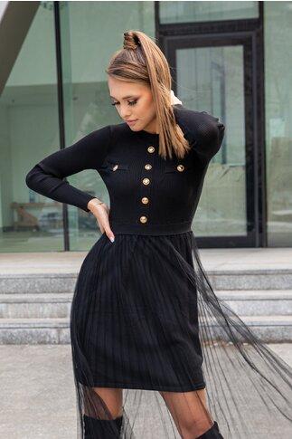 Rochie Dely neagra din tricot cu fusta din tull