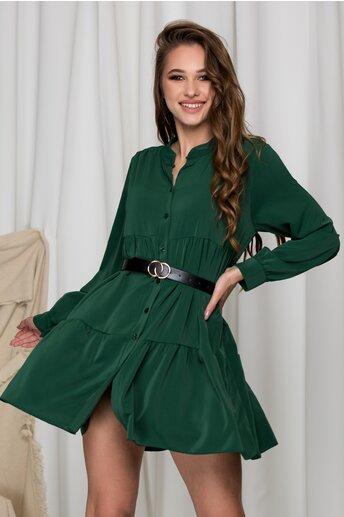 Rochie Denisse verde inchis lejera cu inchidere cu nasturi