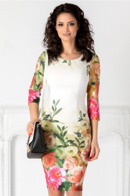 Rochie Devon ivoire cu imprimeu floral