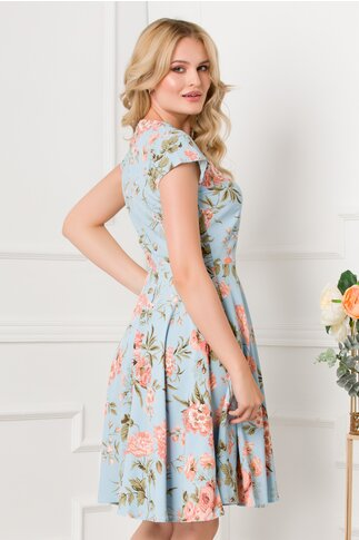 Rochie Dia bleu in clos cu imprimeu floral