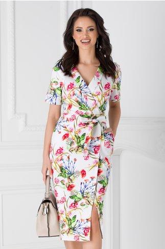 Rochie Diana alba cu imprimeuri florale colorate