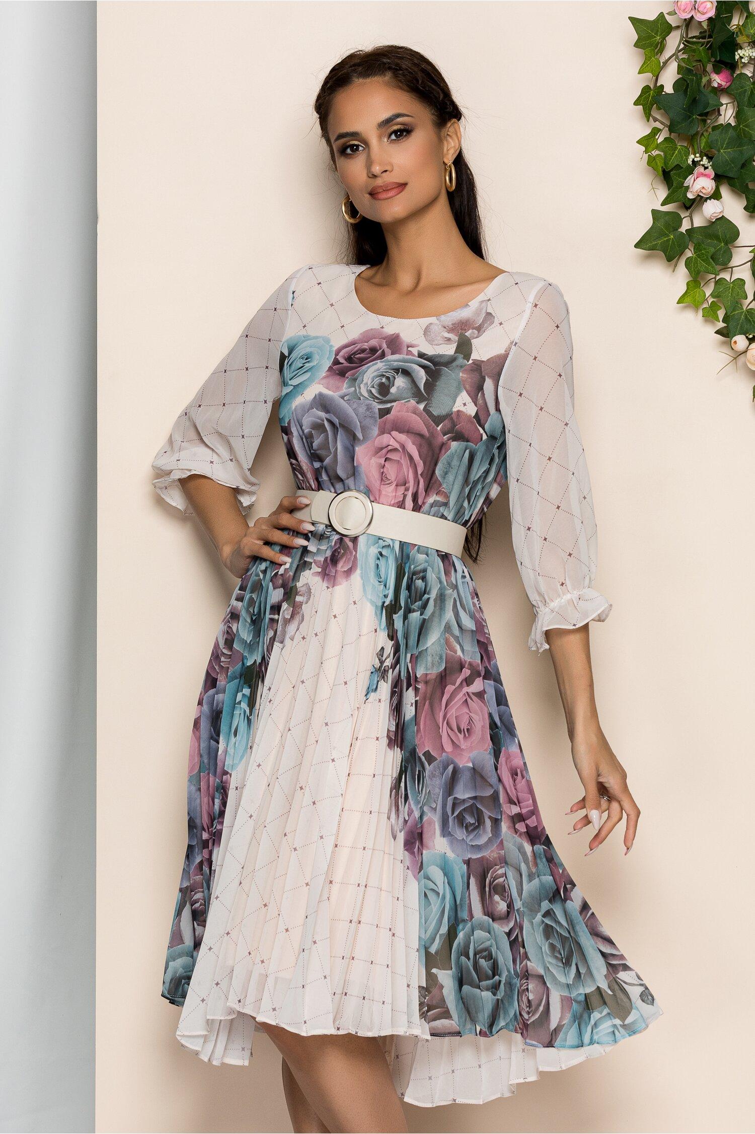 Rochie Diana bej cu pliuri pe fusta si imprimeu floral albastru marin