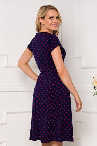 Rochie Diana bleumarin cu buline rosii