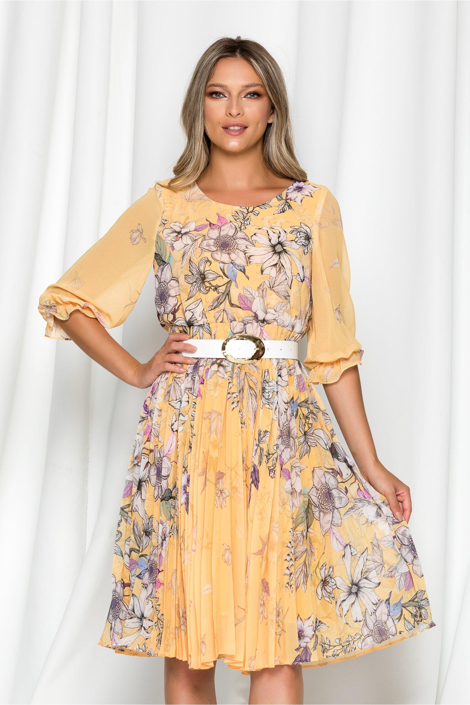 Rochie Diana galbena cu imprimeu floral si pliuri pe fusta